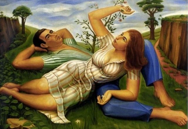""""""" Primavera o Descanso,"""" pintura de 1940 realizada por el artista cubano Jorge Arche,"""