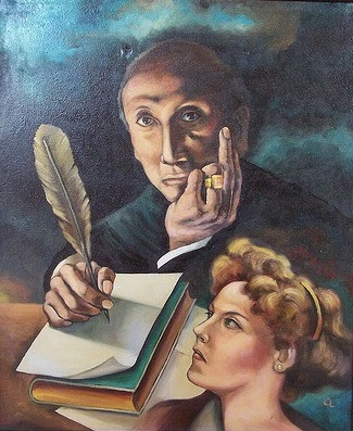 Representación de uno de los mas grandes poetas hispanoamericano, Amado Nervo (Juan Crisóstomo Ruiz de Nervo) representado en Cuadro ubicado en el museo Aramara en Tepic, Nayarit, MEXICO. Foto del cuadro Christian Frausto Bernal