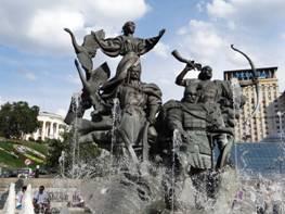 Fuente de los fundadores de Kiev en la Plaza de la Independencia.