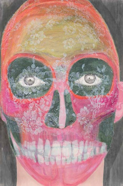 Elly Strik. Muchas Flores.2003. Óleo, laca y grafito sobre papel. 240 x 160 cm. Colección Frac. Auvergne.