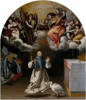 Aparición de ángeles músicos a San Hugo de Lincoln, Vicente Carducho, 1632, óleo sobre lienzo, 337 x 298 cm. Madrid, Museo Nacional del Prado.