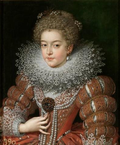 """Isabel de Francia, reina de España, Pourbus """"el Joven"""". Hacia 1615. Óleo sobre lienzo. 61 x 51 cm. Madrid, Museo Nacional del Prado"""