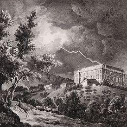 """""""Vista del Real Palacio de Riofrio tomada entre norte y levante"""". Estampa de Fernando Brambilla. Museo del Romanticismo"""