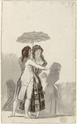 Pareja con sombrilla en el paseo  Francisco de Goya.  Pincel, aguada de tinta china, y raspador,  221 x 134 mm. 1795 – 1797. © Hamburger Kunsthalle. Foto: Christoph Irrgang