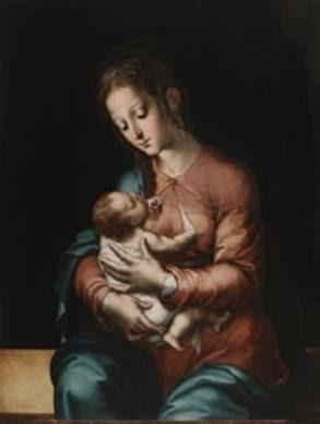 La Virgen de la leche.Luis de Morales.Óleo sobre tabla, 84 x 64 cm.h. 1565.Madrid, Museo Nacional del Prado.